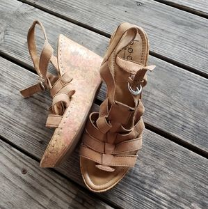 Boc leather strap wedge sandals